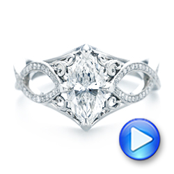 Platinum Custom Marquise Diamond Engagement Ring - Video -  102731 - Thumbnail