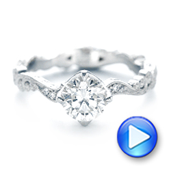 Custom Diamond and Hand Engraved Engagement Ring - Interactive Video - 102736 - Thumbnail
