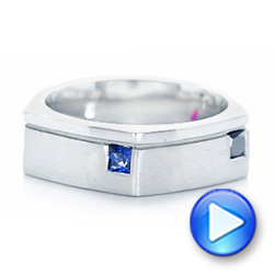 Platinum Platinum Custom Multi-color Sapphire Men's Band - Video -  102737 - Thumbnail