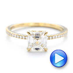 18k Yellow Gold Custom Asscher Diamond Engagement Ring - Video -  102739 - Thumbnail
