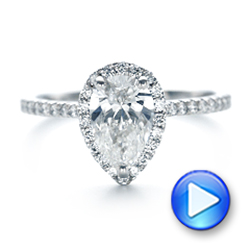 Custom Pear Shaped Diamond and Halo Engagement Ring - Interactive Video - 102743 - Thumbnail