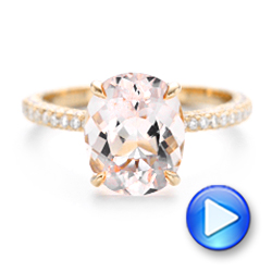 18k Rose Gold Custom Morganite And Pave Diamond Engagement Ring - Video -  102749 - Thumbnail