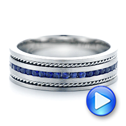 Custom Blue Sapphire Men's Band - Interactive Video - 102750 - Thumbnail