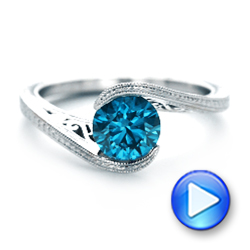 14k White Gold Custom Solitaire Blue Diamond Engagement Ring - Video -  102752 - Thumbnail