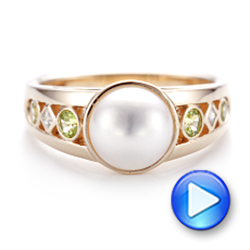 Custom White Pearl, Peridot and Diamond Fashion Ring - Interactive Video - 102755 - Thumbnail