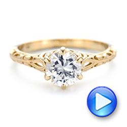 Solitaire Diamond and Yellow Gold Engagement Ring - Interactive Video - 102767 - Thumbnail
