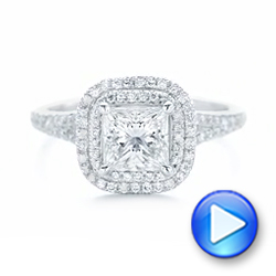 14k White Gold Custom Diamond Halo Engagement Ring - Video -  102771 - Thumbnail