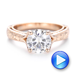Custom Diamond and Rose Gold Engagement Ring - Interactive Video - 102777 - Thumbnail