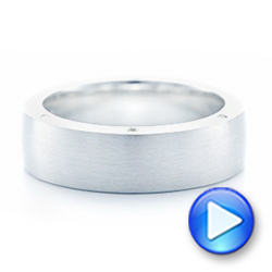 Custom Blue Sapphire and Diamond Men's Wedding Band - Interactive Video - 102779 - Thumbnail