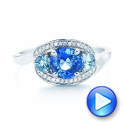 Custom Blue Sapphire, Aquamarine and Diamond Engagement Ring - Interactive Video - 102782 - Thumbnail