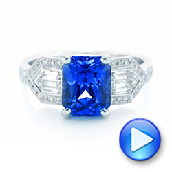 Custom Blue Sapphire and Diamond Engagement Ring - Interactive Video - 102783 - Thumbnail