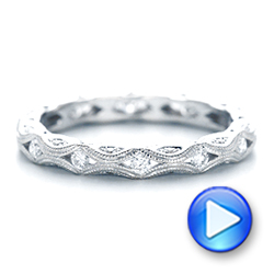 Platinum Platinum Diamond In Filigree Wedding Band - Video -  102787 - Thumbnail