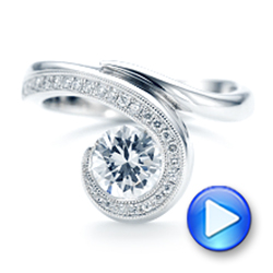 14k White Gold Halo Loop Diamond Engagement Ring - Video -  102789 - Thumbnail