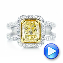 14k White Gold And 14K Gold 14k White Gold And 14K Gold Custom Two-tone Yellow And White Diamond Engagement Ring - Video -  102794 - Thumbnail