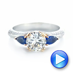 Platinum And 14K Gold Custom Two-tone Blue Sapphire And Diamond Engagement Ring - Video -  102795 - Thumbnail