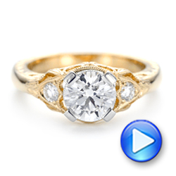 Custom Vintage Diamond Yellow Gold Engagement Ring - Interactive Video - 102797 - Thumbnail