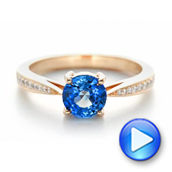 Custom Rose Gold Blue Sapphire and Diamond Engagement Ring - Interactive Video - 102801 - Thumbnail