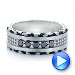 Platinum Custom Brushed Black Diamond Men's Band - Video -  102804 - Thumbnail