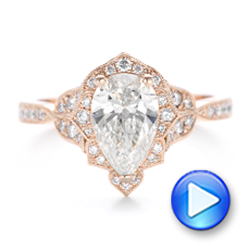 Custom Rose Gold and Diamond Engagement Ring - Interactive Video - 102806 - Thumbnail