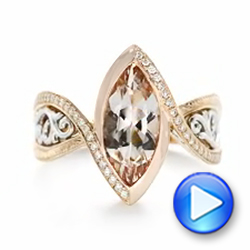 14k Rose Gold And 14K Gold Custom Two-tone Morganite And Diamond Engagement Ring - Video -  102808 - Thumbnail