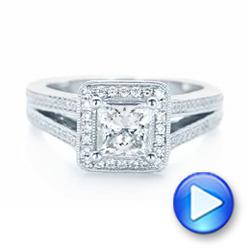 14k White Gold Custom Diamond Halo Engagement Ring - Video -  102809 - Thumbnail