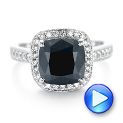 Custom Black Diamond Halo Engagement Ring - Interactive Video - 102814 - Thumbnail