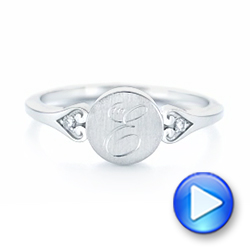 Platinum Platinum Custom Engraved Diamond Engagement Ring - Video -  102815 - Thumbnail