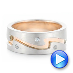 14K Gold And 14k Rose Gold Custom Two-tone Aquamarine Men's Wedding Band - Video -  102825 - Thumbnail
