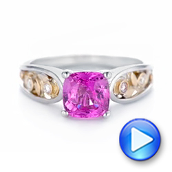 18k White Gold And 18K Gold Custom Two-tone Pink Sapphire And Diamond Engagement Ring - Video -  102827 - Thumbnail