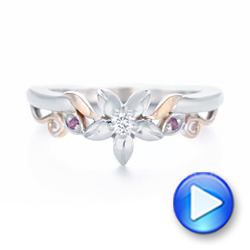 14k White Gold And 14K Gold Custom Two-tone Pink Sapphire And Diamond Wedding Band - Video -  102828 - Thumbnail