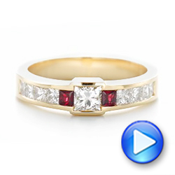 Custom Yellow Gold Ruby and Diamond Fashion Ring - Interactive Video - 102830 - Thumbnail