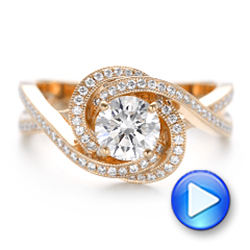 14k Rose Gold Custom Diamond Engagement Ring - Video -  102833 - Thumbnail