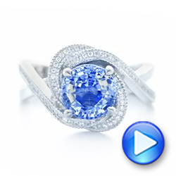 Platinum Custom Blue Sapphire And Diamond Engagement Ring - Video -  102841 - Thumbnail