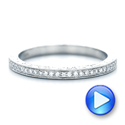 18k White Gold 18k White Gold Custom Diamond And Hand Engraved Wedding Band - Video -  102848 - Thumbnail