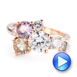 14k Rose Gold Custom Cluster Set Diamond And Sapphire Engagement Ring - Video -  102855 - Thumbnail