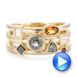 Custom Multi-Color Gemstones and Yellow Gold Engagement Ring - Interactive Video - 102857 - Thumbnail