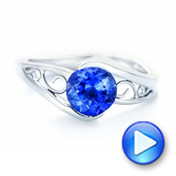 14k White Gold Custom Solitaire Tanzanite Engagement Ring - Video -  102858 - Thumbnail