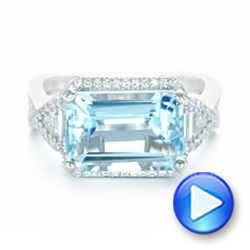 14k White Gold Custom Aquamarine And Diamond Fashion Ring - Video -  102859 - Thumbnail