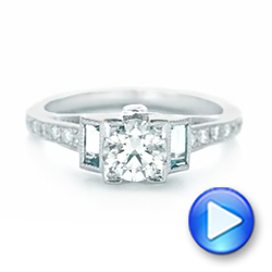 14K White Gold Custom Aquamarine and Diamond Engagement Ring - Interactive Video - 102862 - Thumbnail