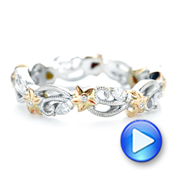 Floral Filigree and Diamond Eternity Wedding Band - Interactive Video - 102865 - Thumbnail