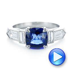 18k White Gold 18k White Gold Custom Blue Sapphire And Diamond Engagement Ring - Video -  102870 - Thumbnail