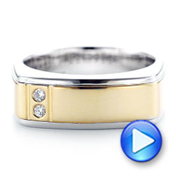 14K Gold And 14k Yellow Gold Custom Two-tone Diamond Men's Band - Video -  102871 - Thumbnail