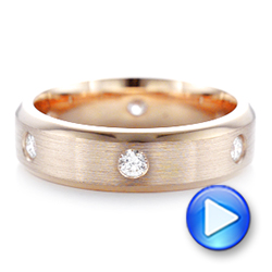 18k Rose Gold Custom Diamond Men's Wedding Band - Video -  102874 - Thumbnail