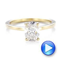 Custom Yellow Gold Solitaire Diamond Engagement RIng - Interactive Video - 102876 - Thumbnail