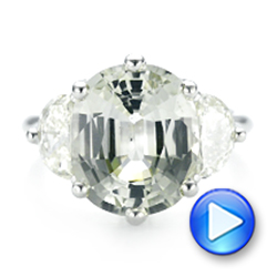 Custom Three Stone White Sapphire and Diamond Fashion Ring - Interactive Video - 102877 - Thumbnail
