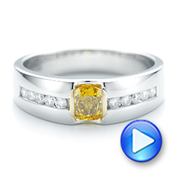 Platinum And 18K Gold Custom Two-tone Yellow And White Diamond Men's Wedding Band - Video -  102881 - Thumbnail
