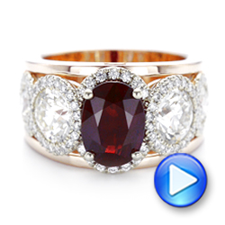 14k Rose Gold And 14K Gold Custom Ruby And Diamond Fashion Ring - Video -  102883 - Thumbnail