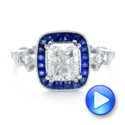Custom Diamond and Blue Sapphire Halo Engagement Ring - Interactive Video - 102889 - Thumbnail