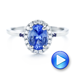 Custom Blue Sapphire, Amethyst and Diamond Halo Engagement Ring - Interactive Video - 102892 - Thumbnail