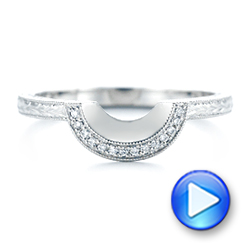 14k White Gold 14k White Gold Custom Hand Engraved Diamond Wedding Band - Video -  102893 - Thumbnail